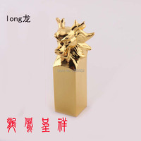 Top Quality Metal 24KT Gold Plated Vintage Chinese Style Word Seal Stamps for wedding decoration