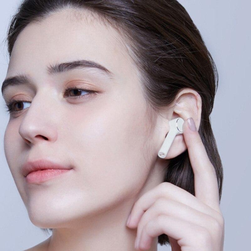 Xiao mi ar verdadeiro sem fio bluetooth fones de ouvido hd som redução ruído controle toque twsej01jy bluetooth 4.2 tws airdots pro - 4