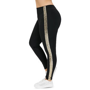 Fitness Leggings Sequin-Pants Rose Gal Skinny Side-Stripe High-Waist Plus-Size Trousers