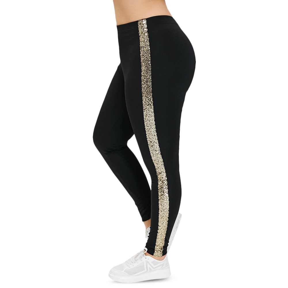 ROSE GAL Plus Size High Waist Pant   Leggings   Women Side Stripe Sequin Pants Skinny Elastic fitness   Leggings   Casual Lady Trousers