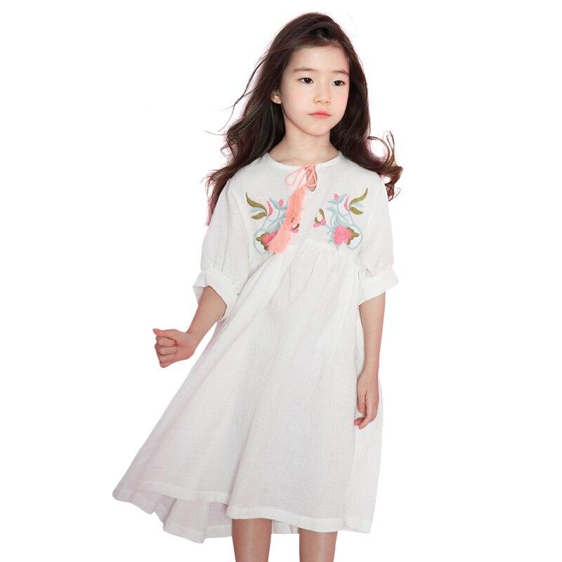 c2e4df798b88eed Китайские стильные шаровары кисточкой длинное платье для 3-16 лет вышитый  цветок хлопка костюм принцессы Крупные девушки винтажные платья