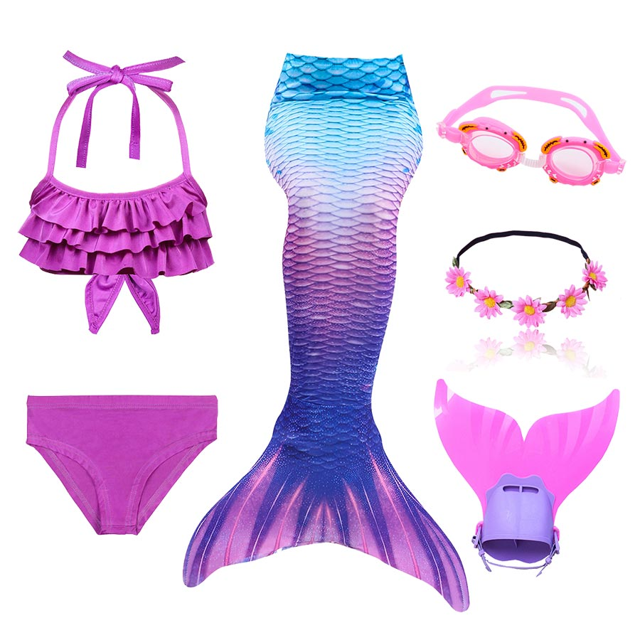 High Quality Girls Swimming Mermaid Tail With Monofin Bathing Suit Children Ariel The Little Mermaid Tail Costume Kids Swimsuit