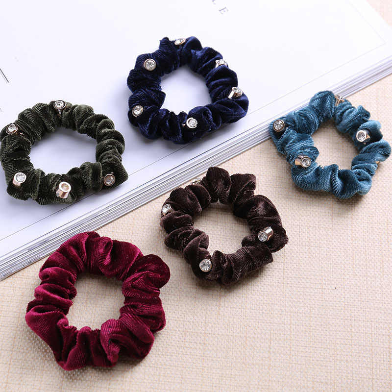 Velvet Scrunchies For Women Crystal Fabrics Rubber Bands High Elasticity Gums For Hair Pony Tail Tie Hair Accessories Headdress