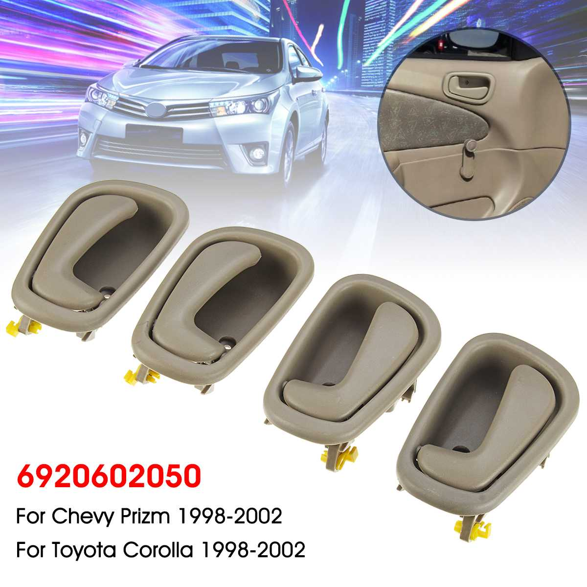 Interior Inner Inside Door Handle Beige Set of 4 Kit for 98-02 Toyota Corolla