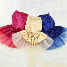 Pure Color Wedding Dog Dresses For Small Dogs Chihuahua Summer Puppy Dress Pomeranian Princess Tutu Shih Tzu Yorkshire Clothes