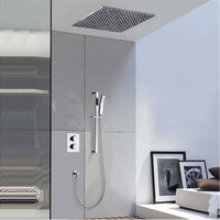 all copper flush thermostatic shower faucet tap set with canopy lifting rod ceiling sprinkler booster