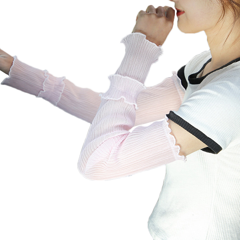 2019 Elegant Pleated Yarn Long Thin Arm Cooling Warmers Summer Breathable Sun UV Protection Outdoor Driving Fingerless Arm Cover