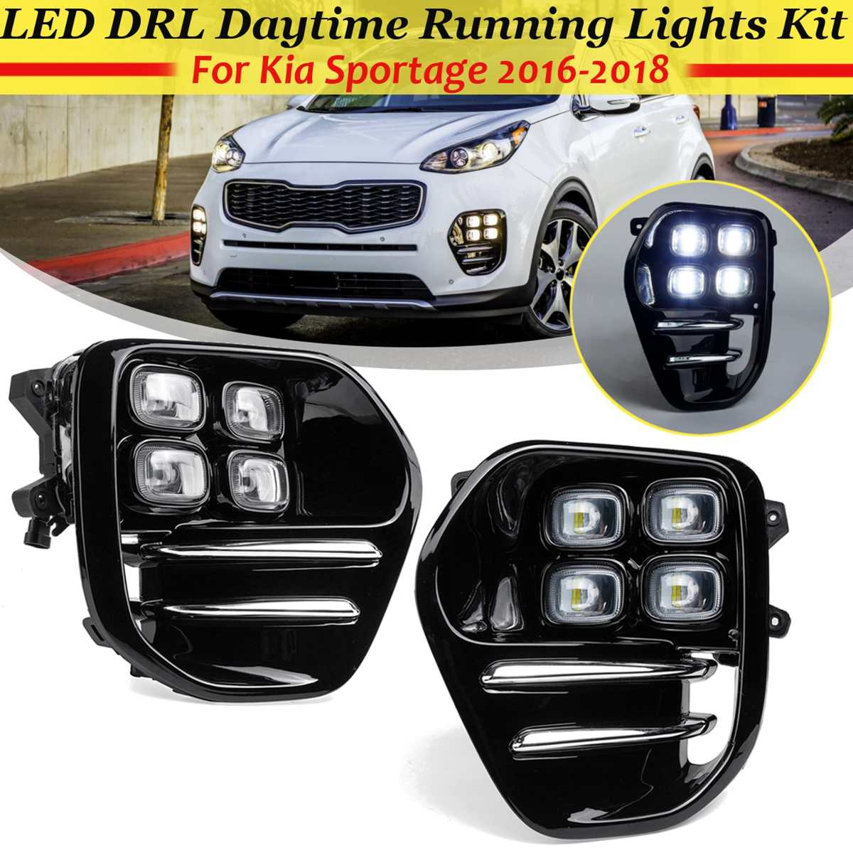 Pair Car LED DRL Daytime Running Light With Cove Grill For Kia Sportage QL 2016 2017 2018 Auto White Driving DRL Light Styling