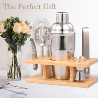 Stainless Steel Bar Cocktail Shaker Tool Wooden Stand Bartender Kit Jigger Opener Shaker Tong Drink Mixing for 550ml Parties Bar