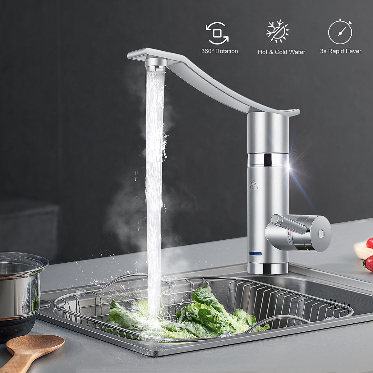 3000W Instant Electric Faucet Hot Water Electric Water Heaters Under Inflow/Side Water Without Leakage Protection