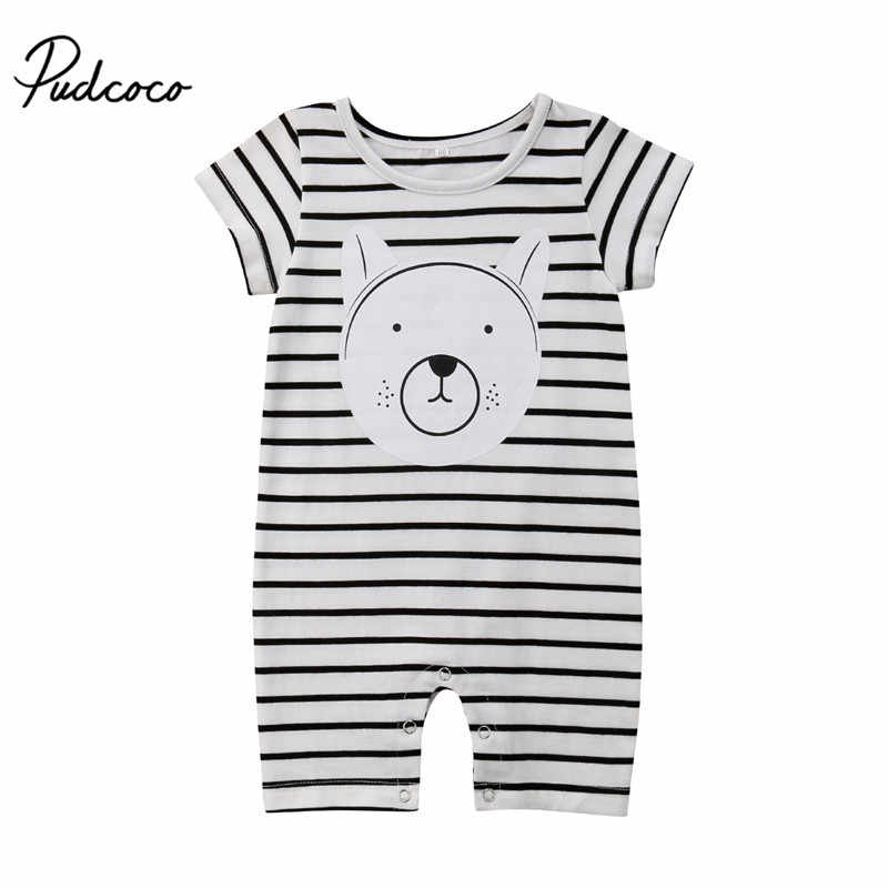 0a0019509c9 Cute Newborn Infant Baby Boy Girl Clothes Cartoon Bear Short Sleeve Striped Romper  Jumpsuit Sunsuit Casual