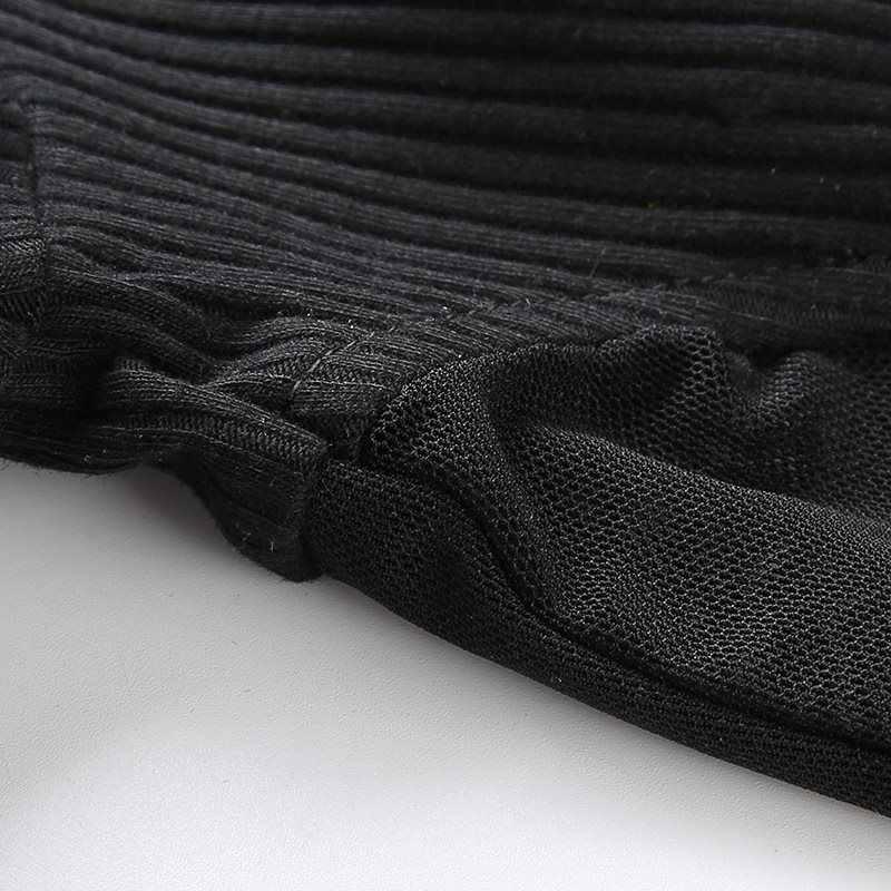 Для женщин летние Повседневное High Street Punk Сексуальная See Through Mesh короткая футболка Топ гот Черный Полосатый Knit Crop тонкий футболки топы