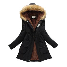 2018 New Parkas Female Women Winter Coat Thickening Cotton Jacket Womens Outwear fur for