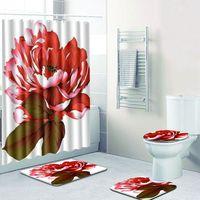 Bathroonm decoration shower curtains 3d flowers printed bath curtain set waterproof fabric rose bathroom curtain with mat