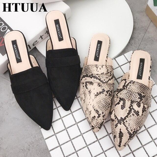 HTUUA Yeni Bahar Yaz Düz Topuk Terlik Kadın Yılan Sivri Burun Katır Ayakkabı Kadın Slaytlar Rahat Tasarımcı Terlik Kadın SX2158