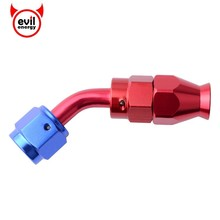 evil energy Red-Blue 45Degree Aluminum PTFE Swivel Hose End Reusable Fitting Fuel Adapter Tube To Female AN4