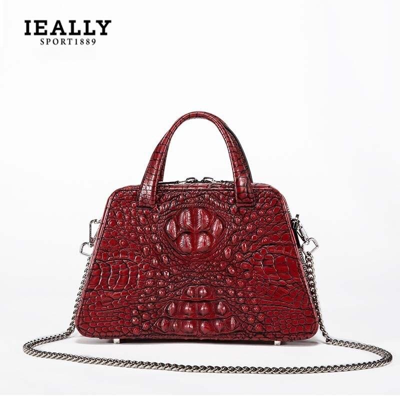2018 nouveau sac pour femmes en cuir véritable motif CROCODILE VINTAGE main connaissement sac à bandoulière MESSENGER sac femmes sacs de créateurs
