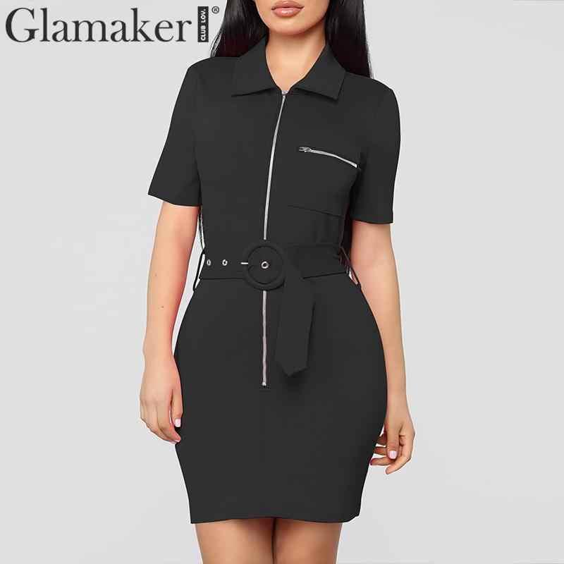 Glamaker Sexy polo cổ dây kéo khóa belt mini dress Phụ Nữ ngắn tay áo giản dị bodycon dress Nữ đen sạn holiday thời trang dạo phố
