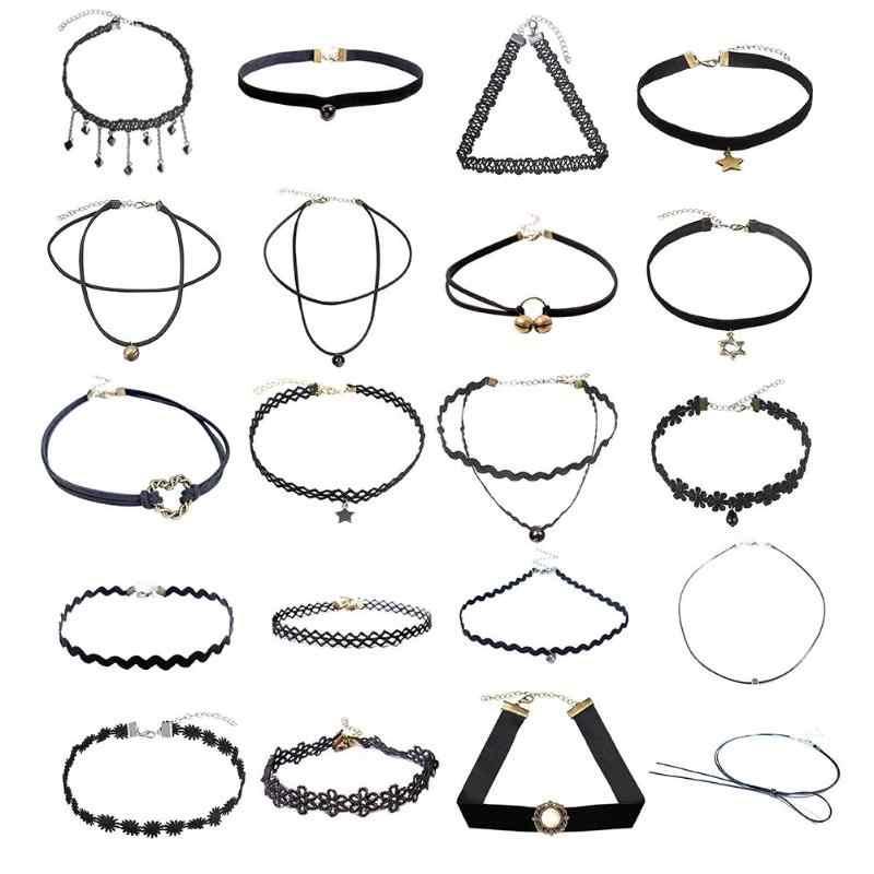 Mode Schmuck Halsketten Trendy Sexy Spitze Hohl Halskette Gothic Punk Samt Lange Anhänger Chockers Frauen Kragen