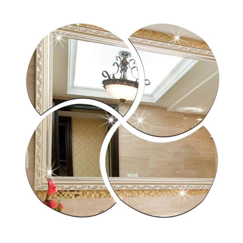 4pcs 3D Removable Art Sticker Mirror Circle Silver Wall DIY Home Living Room Bedroom Office Decoration Silver 28 x 28cm