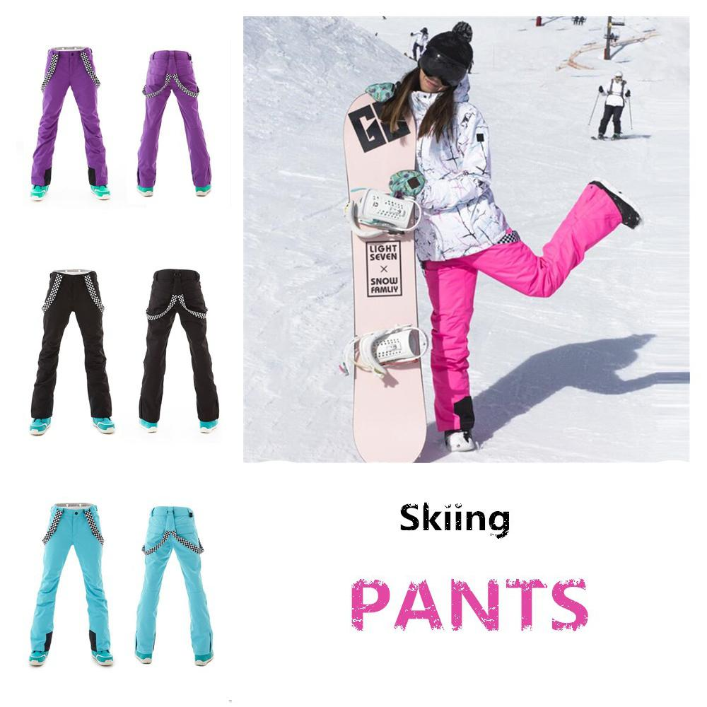 Mounchain Woman Warm winter ski pants Waterproof snowproof Skiing Pants breathable warm ski clothes Outdoor Winter Wear XS XL-in Skiing Pants from Sports & Entertainment    1