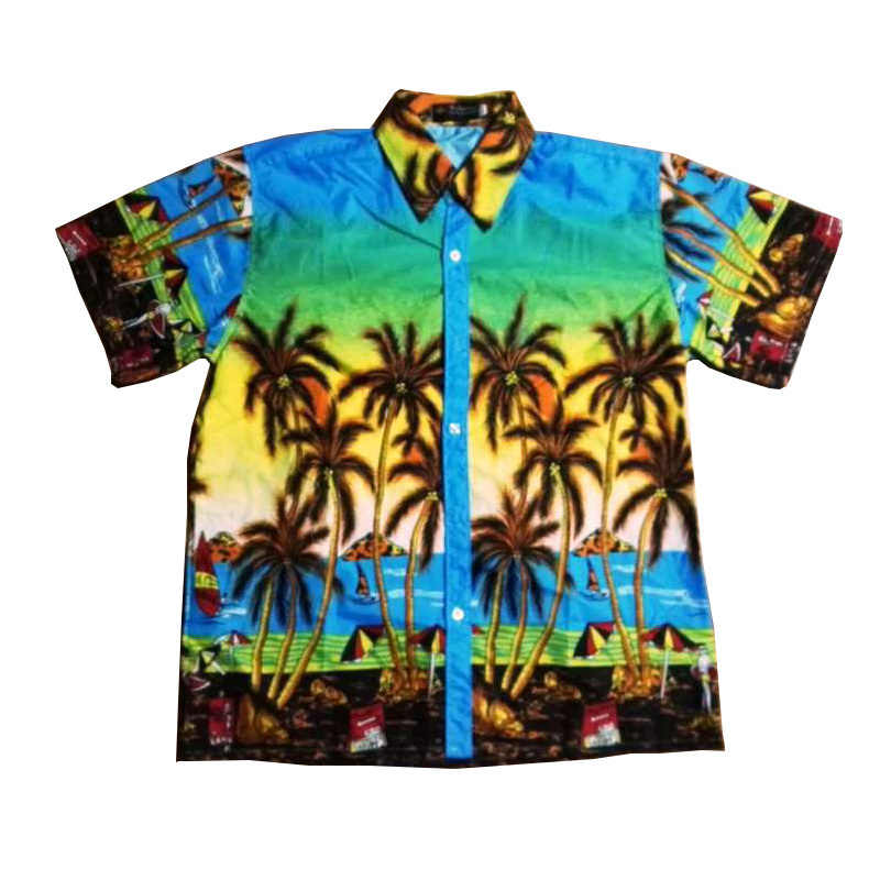 04717017 FDWERYNH Hawaiian Boys Shirts Casual Summer Turn-Down Collar Short Sleeve  Coconut tree Flowers Print