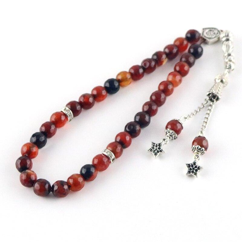 100% original Natural agate stone Tesbih Islamic prayer beads  Tasbih Muslim for prayer beads prayer 8mm beads Misbaha  TasbeehBracelets
