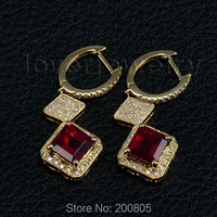 принцессы 7 мм 14kt белого золота с бриллиантами крови рубиновые серьги, рубиновые серьги падение для продажи esr012