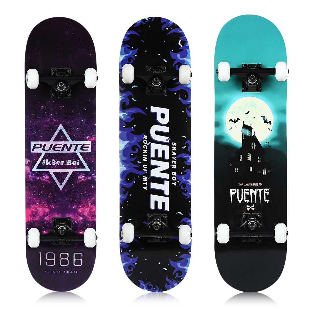 PUENTE Four-Wheel Double Kick Deck Skateboard with T-Shape Gadget 8-Layer Hard Maple Deck Anti-slip Secure Skateboard