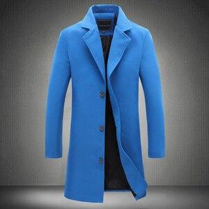 Image 3 - 2020 冬の新ファッションメンズ無地シングルブレストロングトレンチコート/男性カジュアルスリムロング毛織物のコート大サイズ 5XL