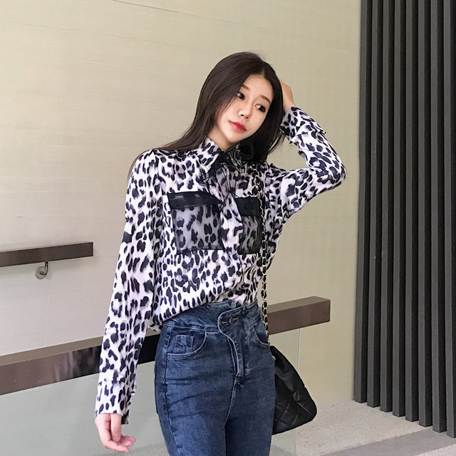Leopard Print Women Blouse Shirt Pocket Long Sleeve Sexy Slim Blouse Shirt For Female Spring Autumn 2019 New Fashion Cool Girls