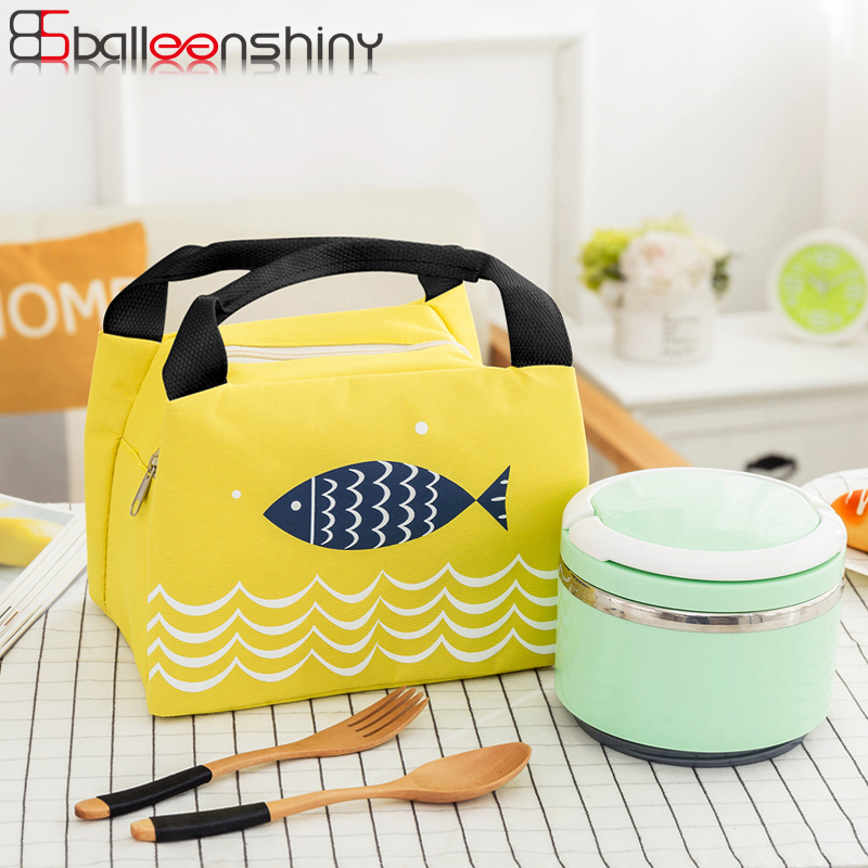 Balleenshiny Cartoon Fish Insulated Lunch Bag Zipper Bento Box Portable Bags Tableware Fruit Beverage Storage Outdoor Picnic Bag
