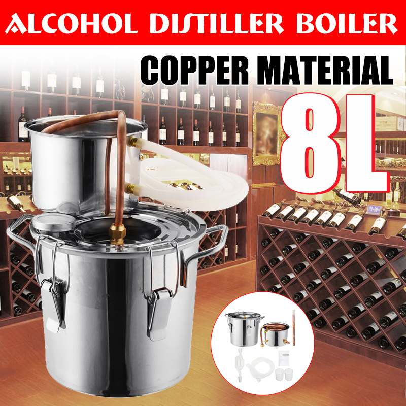 8L Distiller Moonshine Alcohol Stainless Copper DIY Home Water Wine Essential Oil Brewing Kit