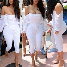 Women Hot Fashion Strapless Bodycon Jumpsuit Solid Two Piece Sets Slash Neck Sexy