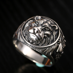 Image 2 - ZABRA 100% אמיתי מוצק 925 כסף טבעת זכר האריה טבעת בציר Steampunk רטרו Biker Mens סטרלינג כסף תכשיטי אנל Masculino