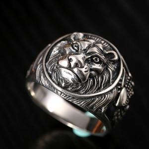 Image 2 - ZABRA 100% Реальное Твердое серебряное кольцо 925 мужское кольцо с Львом Винтажное кольцо в стиле стимпанк Ретро Байкерская бижутерия из стерлингового серебра мужское ювелирное изделие