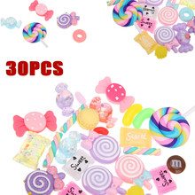 30pcs/lot Candy Sweets Slime Beads Stuff Resin Flat Back Embellishments Slime Charms for Ornament Scrapbooking DIY Crafts(China)