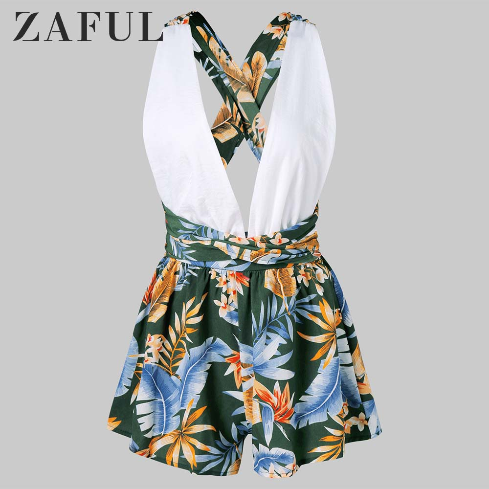 ZAFUL Women   Jumpsuits   Low Cut Leaf Print Open Back Romper bodysuit Women Vacation Holiday body mujer   jumpsuits   2019 Summer