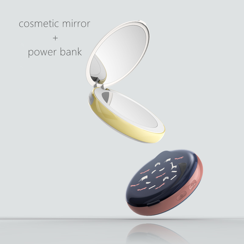 original design,portable LED lighting mirro+power bank,lady first choice when travelling.