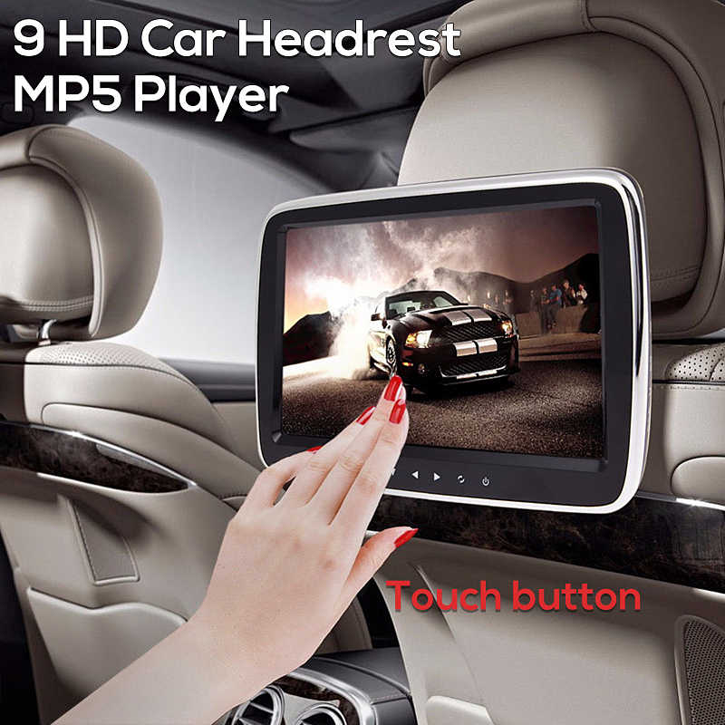 "9"" HD Car Headrest Monitor DVD Video Player USB/SD/HDMI/IR/FM TFT LCD Digital Screen Touch Button Game Remote Control"
