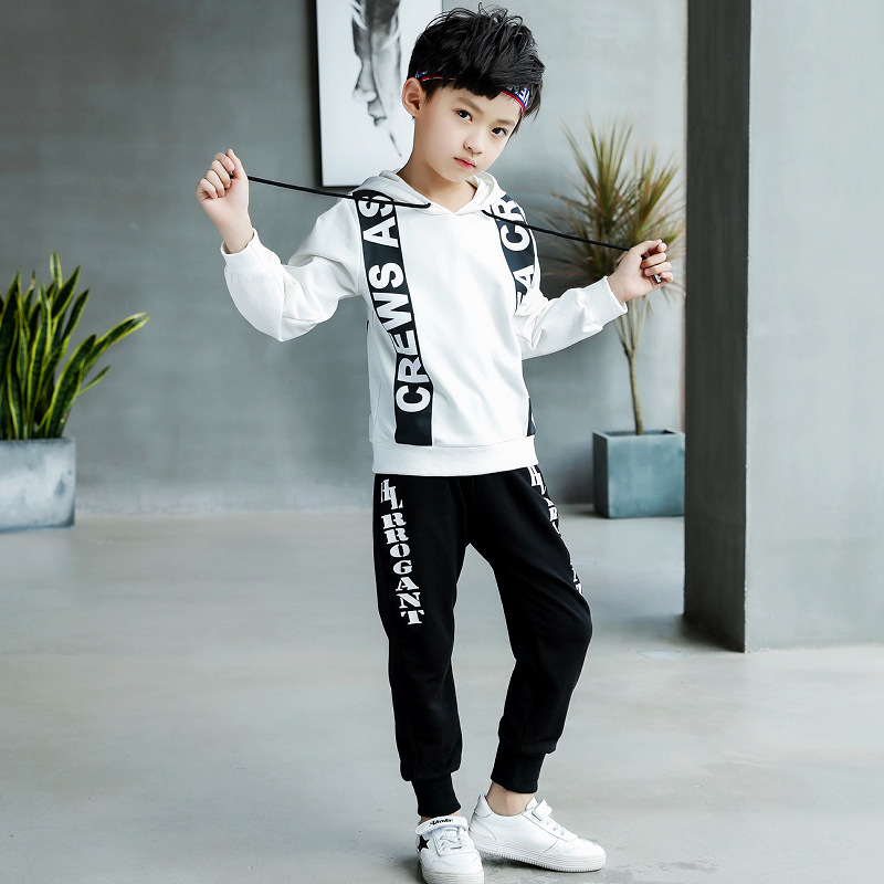 Boys Sports Set Hoodie Pants Autumn Korean Style Letters Print Long Sleeve Kids Sweatshirt Two Piece Set Hooded Children 39 s Sets in Clothing Sets from Mother amp Kids
