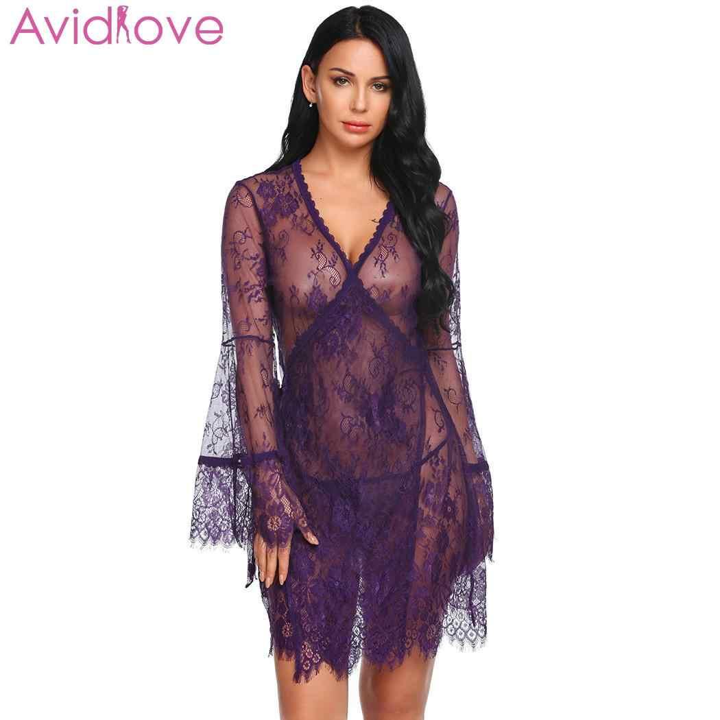 6257737f6a0 Avidlove Women Sexy Lingerie Lace Long Sleeve Underwear Hot Erotic Plus  Size Summer Sleep Dress Halter Backless Babydoll Dress