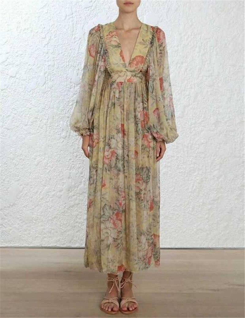Luxe femmes Boho Robe 2019 Sexy profonde col en V Longue Robe portefeuille Long Floral célébrité Robe de soirée Robe Femme Longue Robe