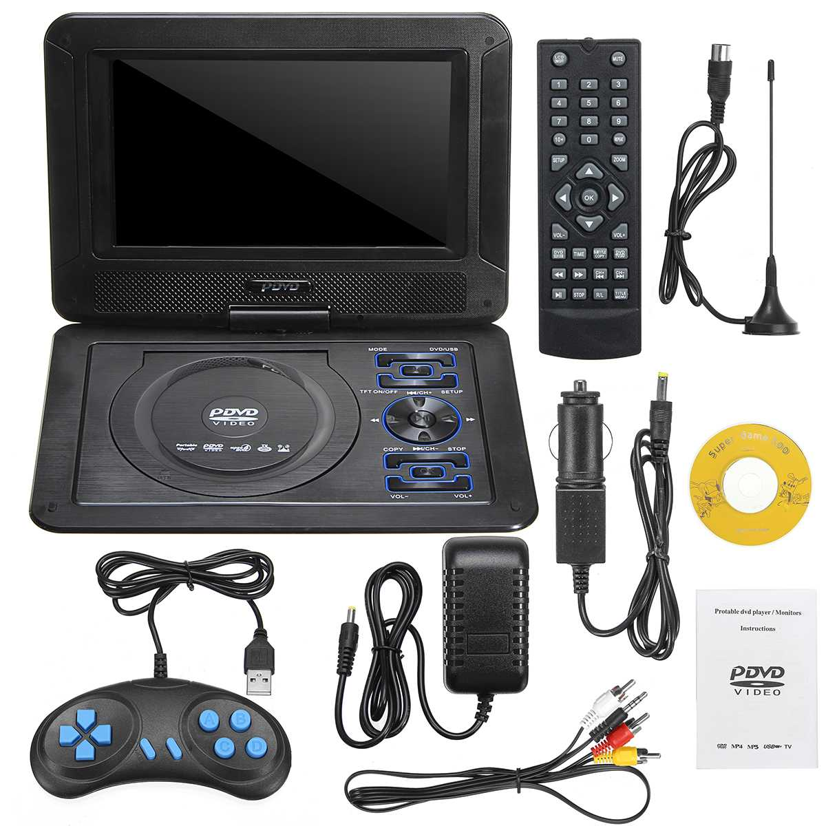 9.8'' Portable Car Home DVD CD Player Screen W/Game Remote Control 300 Games with Joysticks 3 in 1 Card reader TV Input-in DVD & VCD Player from Consumer Electronics    1