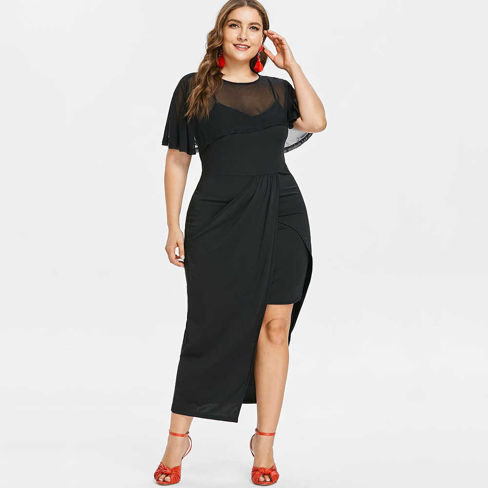 34adaea15bfba Wipalo Plus Size Flutter Sleeve Mesh Overlay Women Dress Autumn O Neck  Short Sleeve Ankle-Length Maxi Capelet Dress Vestidos
