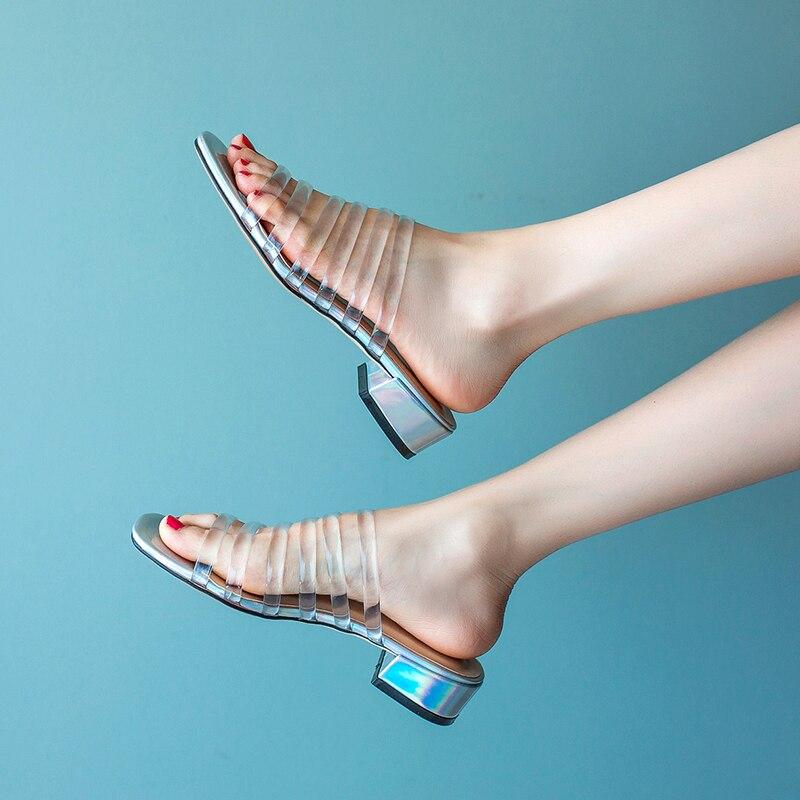 3a1edcbbe136be Talons toe Femmes Pantoufles Bas Chaussures Boîte Clear Cm D'été 5  Transparent 3 Sexy Open ...
