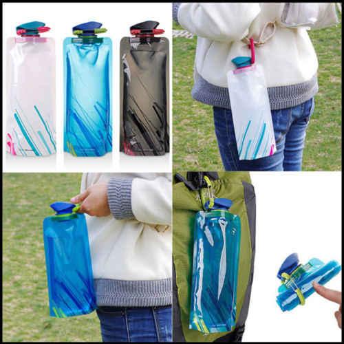 700ML de alta calidad plegable botella de agua potable bolsa al aire libre senderismo Camping sello botellas de agua transparente 23x13cm