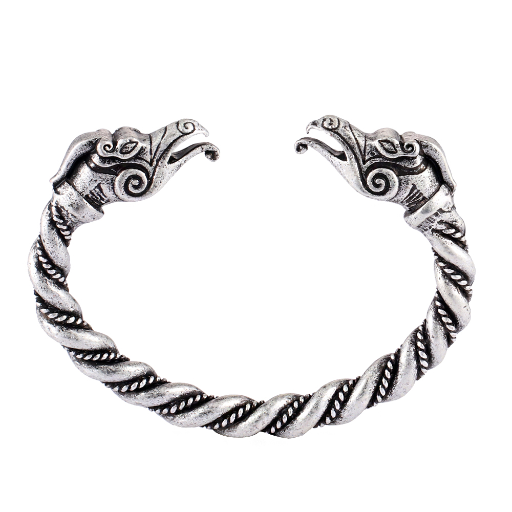 Viking Bracelet Scandinavian Torc Nordic Metal Arm Ring with Dragon Heads Adjustable Bronze Norse Armband Norse Jewelry for Men Women
