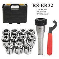 جديد 11 pcs ER32 أسطوانة معدنية مجموعة 3mm-19mm + R8-ER32 7/16 كوليت تشاك + حامل وجع