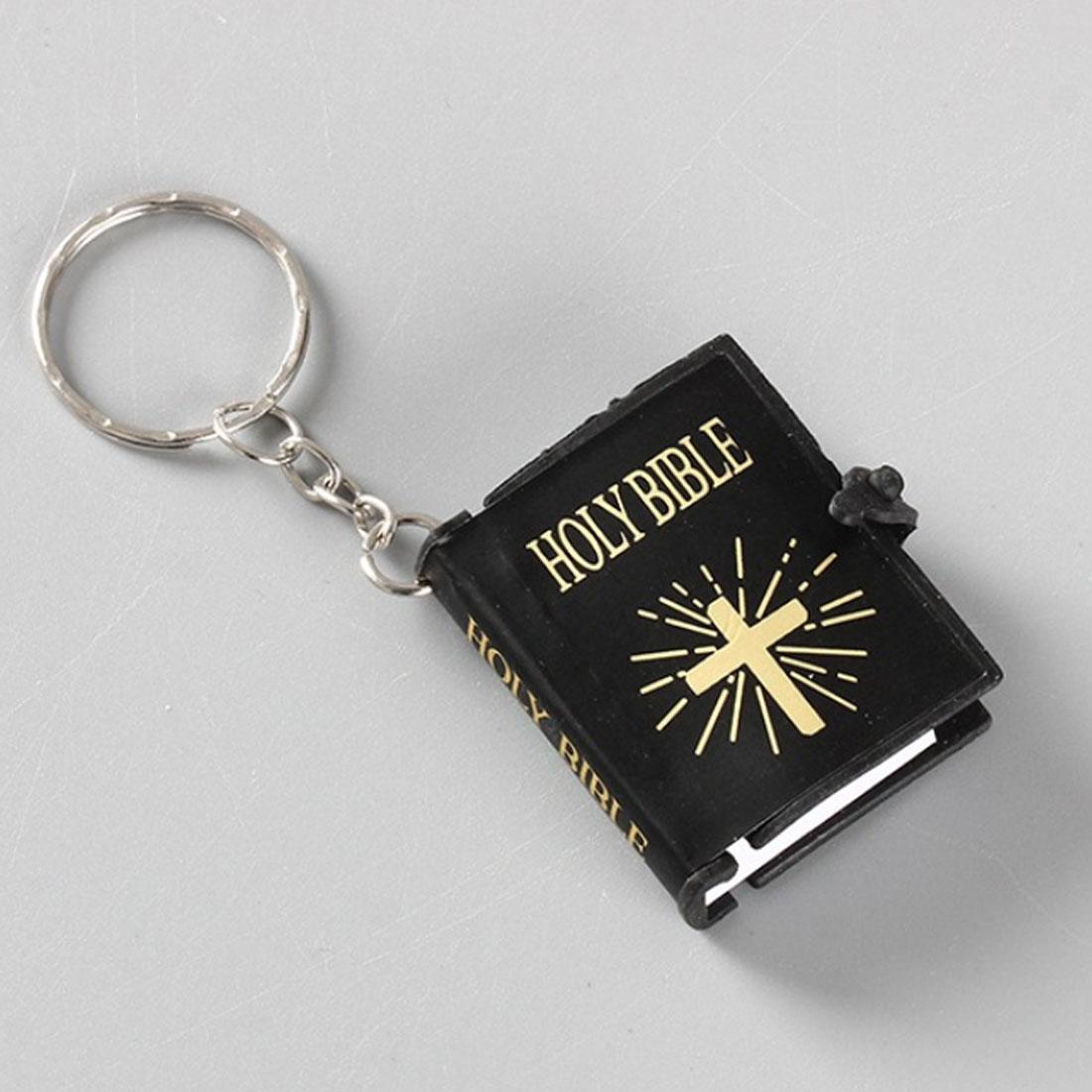 Cute Mini English HOLY BIBLE Keychains Religious Christian Jesus Cross Keyrings Women Bag Gift Souvenirs